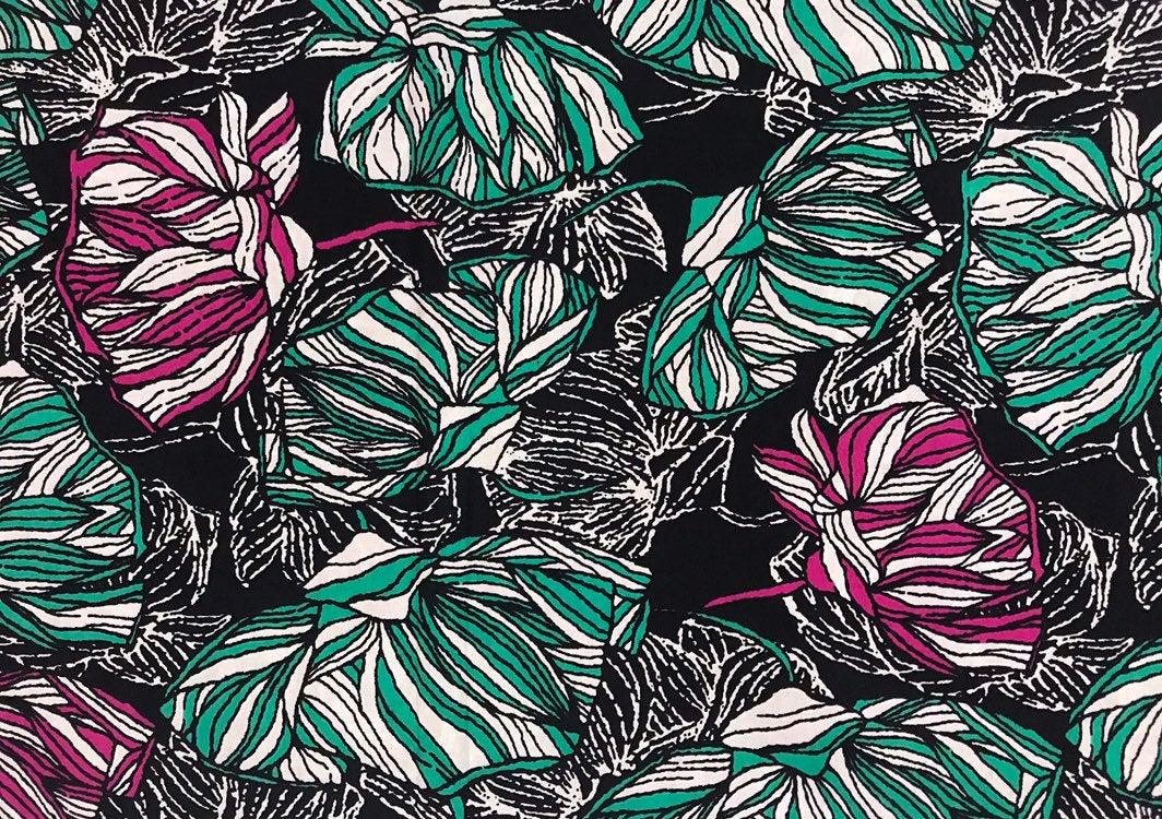 Cyan and Black Floral Maze Ankara African Wax Print