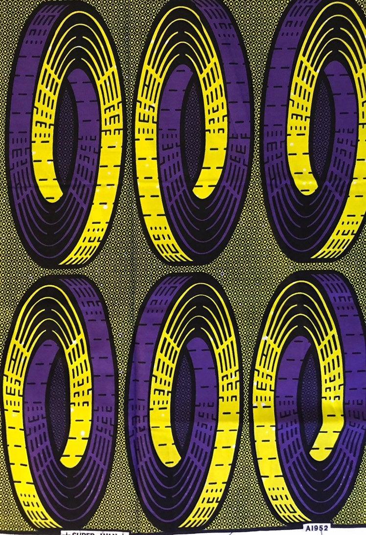 Hip Squared Purple /& Yellow Patterned Ankara African Wax Print