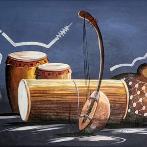 Folk Sounds of Nigeria Oil Painting on Canvas