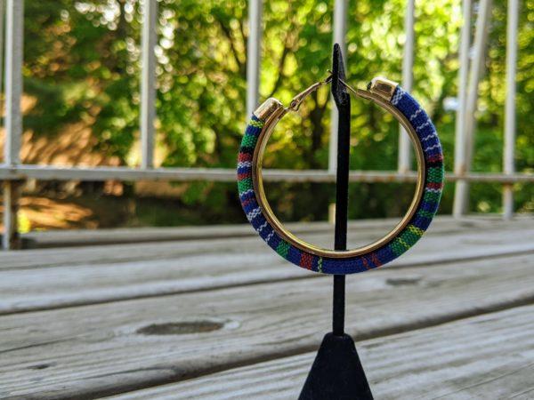Trendy Ethnic Hoop Earrings Blue2