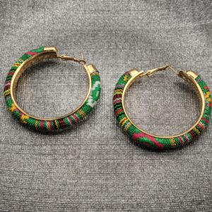 Trendy Ethnic Hoop Earrings green