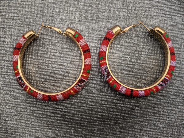 Trendy Ethnic Hoop Earrings red