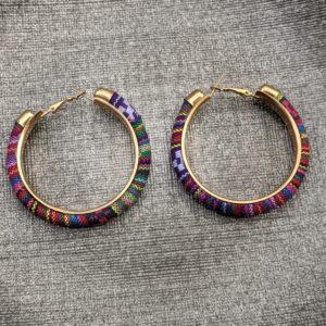 Trendy Ethnic Hoop Earrings purple
