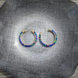 Trendy Ethnic Hoop Earrings Blue3