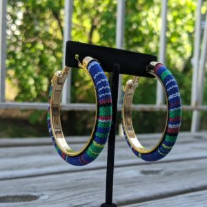 Trendy Ethnic Hoop Earrings Blue