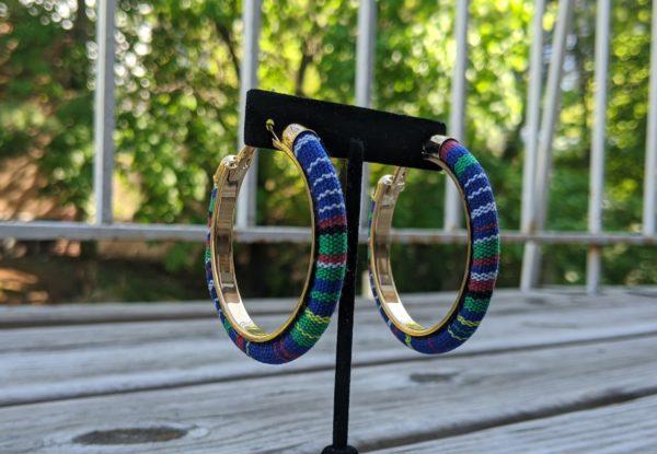 Trendy Ethnic Hoop Earrings Blue