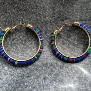 Trendy Ethnic Hoop Earrings Blue4