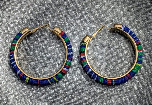 Trendy Ethnic Hoop Earrings Blue5