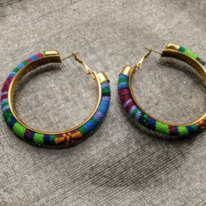 Trendy Ethnic Hoop Earrings lime sky and yellow